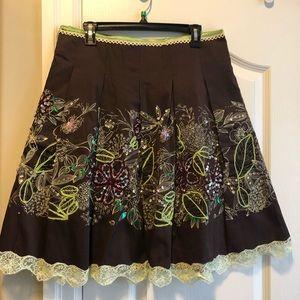 Vintage Pleated Embroidered Skirt